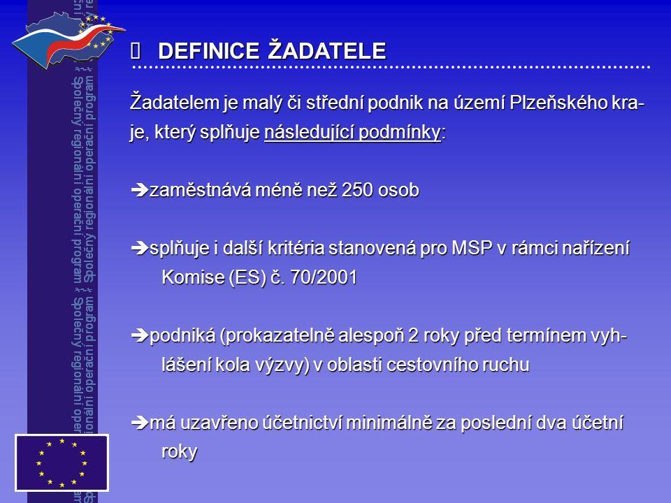  DEFINICE ŽADATELE Žadatelem je malý či střední podnik na území Plzeňského kra- je, který splňuje následující podmínky:  zaměstnává méně než 250 oso