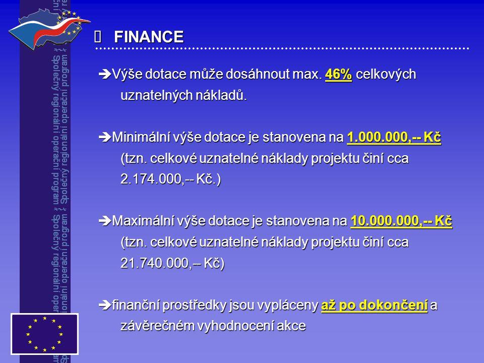 FINANCE  Výše dotace může dosáhnout max. 46% celkových uznatelných nákladů. uznatelných nákladů.  Minimální výše dotace je stanovena na 1.000.000,-
