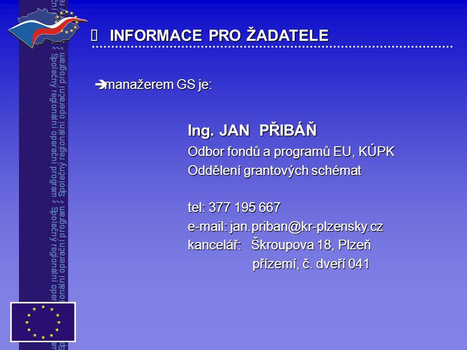  INFORMACE PRO ŽADATELE  manažerem GS je: Ing. JAN PŘIBÁŇ Odbor fondů a programů EU, KÚPK Oddělení grantových schémat tel: 377 195 667 e-mail: jan.p