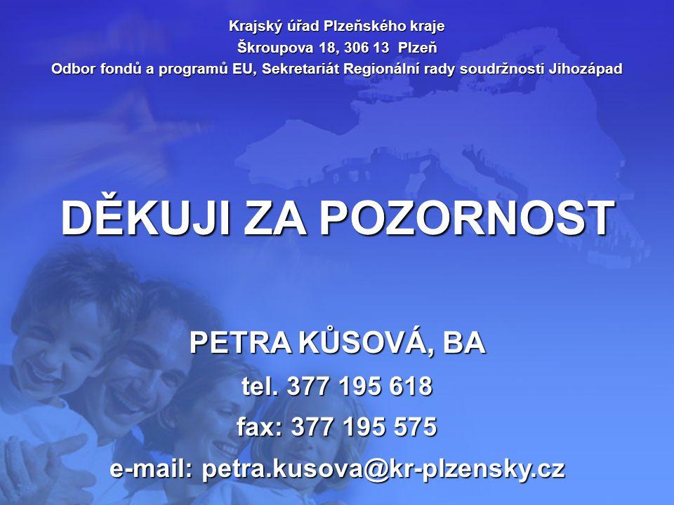 DĚKUJI ZA POZORNOST Krajský úřad Plzeňského kraje Škroupova 18, 306 13 Plzeň Odbor fondů a programů EU, Sekretariát Regionální rady soudržnosti Jihozá