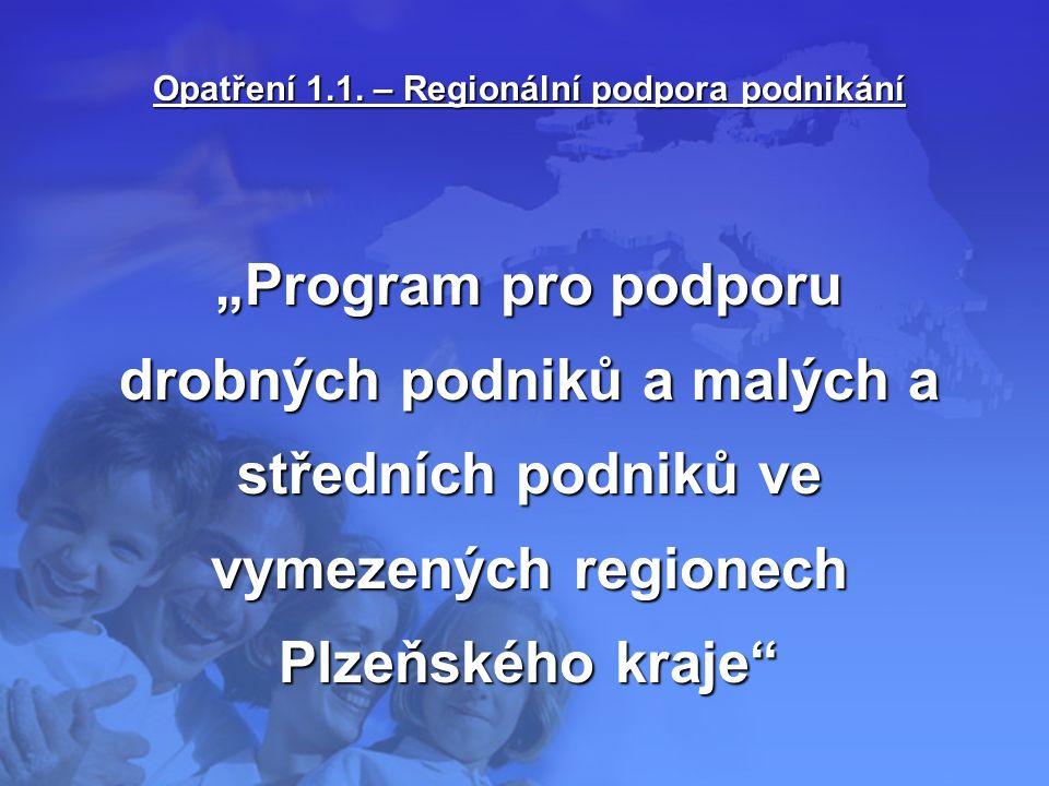 """Opatření 1.1. – Regionální podpora podnikání """"Program pro podporu drobných podniků a malých a středních podniků ve vymezených regionech Plzeňského kra"""