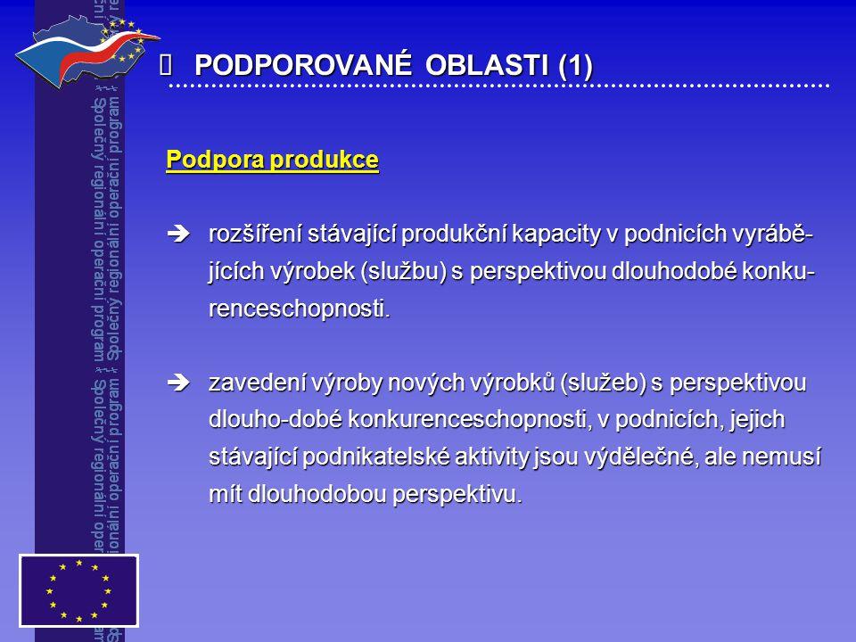 PODPOROVANÉ OBLASTI (1) Podpora produkce  rozšíření stávající produkční kapacity v podnicích vyrábě- jících výrobek (službu) s perspektivou dlouhod