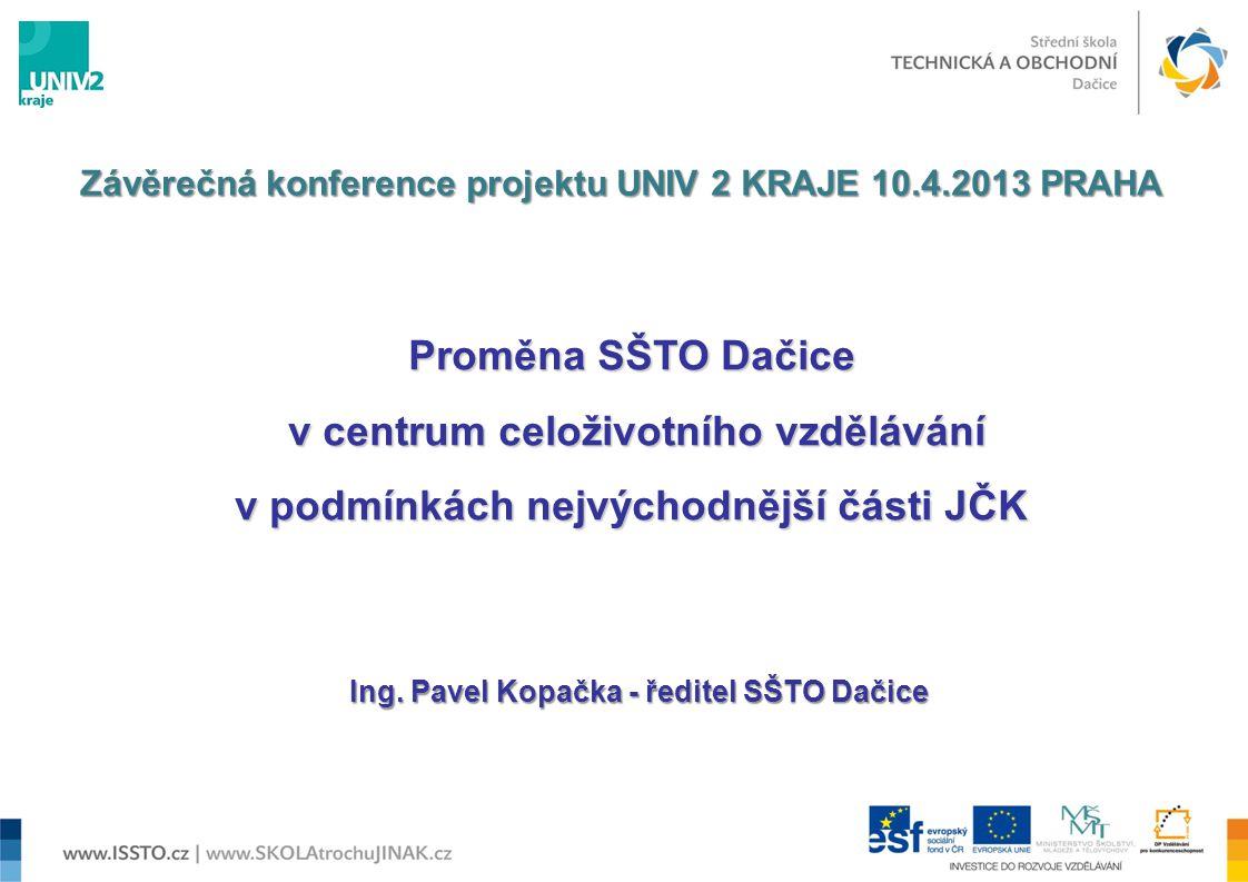 Proměna SŠTO Dačice v centrum celoživotního vzdělávání v centrum celoživotního vzdělávání v podmínkách nejvýchodnější části JČK Ing. Pavel Kopačka - ř