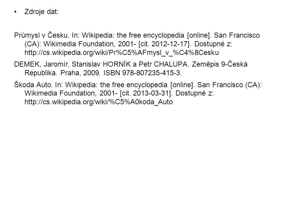 Zdroje dat: Průmysl v Česku. In: Wikipedia: the free encyclopedia [online]. San Francisco (CA): Wikimedia Foundation, 2001- [cit. 2012-12-17]. Dostupn
