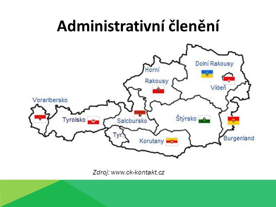 Administrativní členění Zdroj: www.ck-kontakt.cz