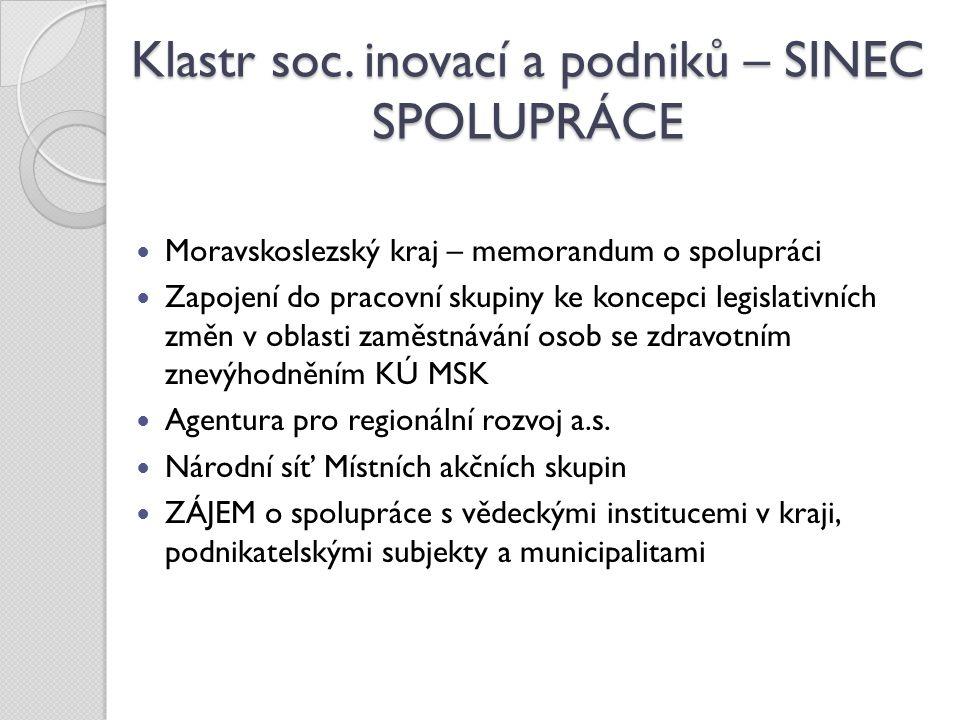 Klastr soc. inovací a podniků – SINEC SPOLUPRÁCE Moravskoslezský kraj – memorandum o spolupráci Zapojení do pracovní skupiny ke koncepci legislativníc