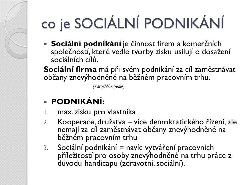 co je SOCIÁLNÍ PODNIKÁNÍ Sociální podnikání je činnost firem a komerčních společností, které vedle tvorby zisku usilují o dosažení sociálních cílů. So