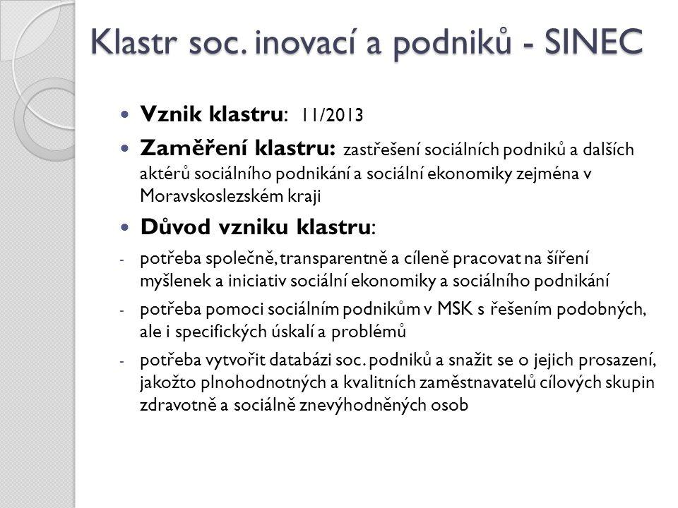 Klastr soc. inovací a podniků - SINEC Vznik klastru: 11/2013 Zaměření klastru: zastřešení sociálních podniků a dalších aktérů sociálního podnikání a s