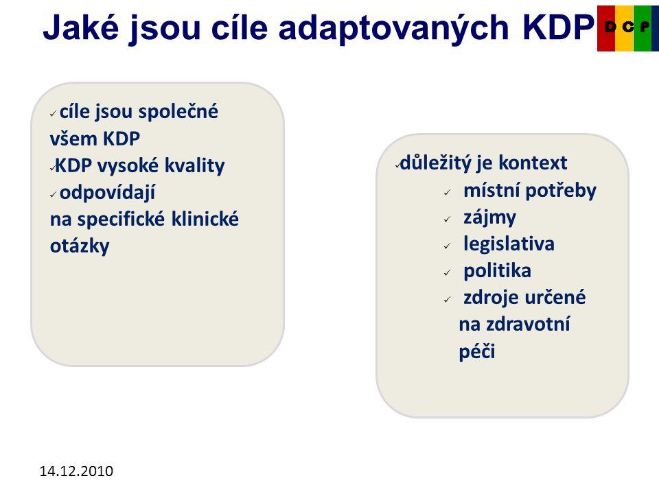 14.12.2010 Jaké jsou cíle adaptovaných KDP.