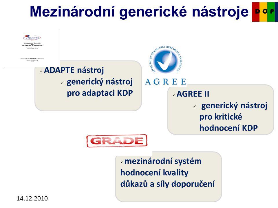 14.12.2010 AGREE II generický nástroj pro kritické hodnocení KDP Mezinárodní generické nástroje CKDP ADAPTE nástroj generický nástroj pro adaptaci KDP mezinárodní systém hodnocení kvality důkazů a síly doporučení