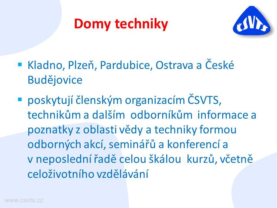  Kladno, Plzeň, Pardubice, Ostrava a České Budějovice  poskytují členským organizacím ČSVTS, technikům a dalším odborníkům informace a poznatky z ob