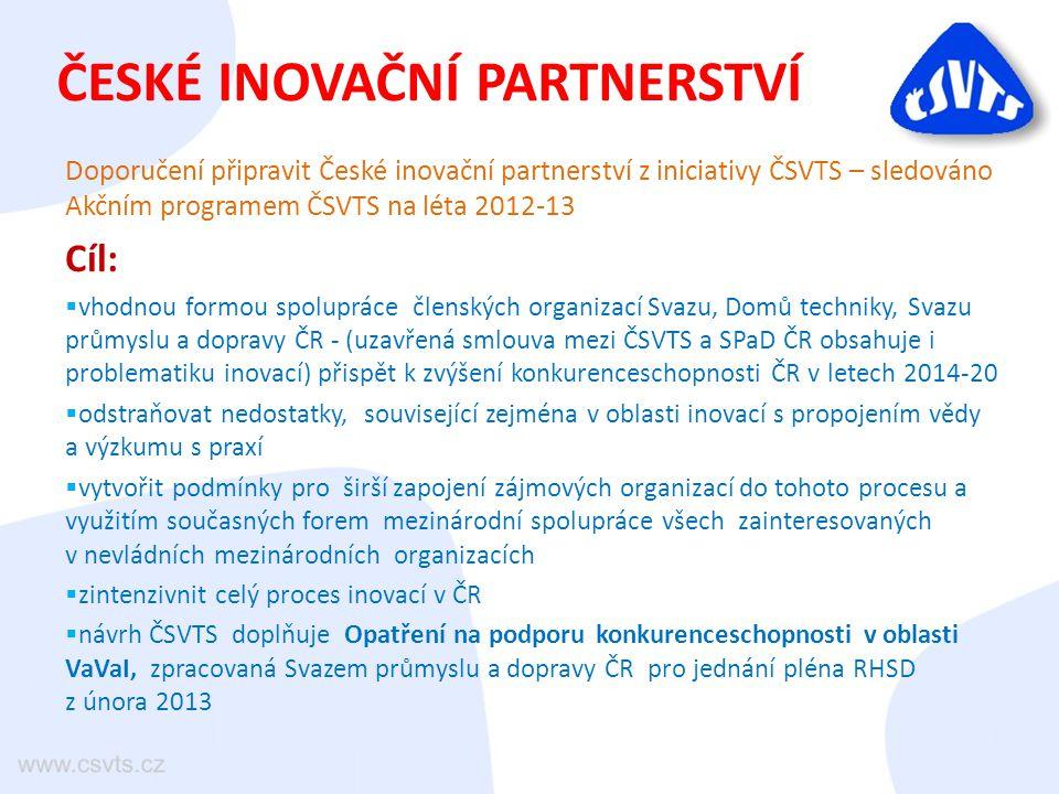 ČESKÉ INOVAČNÍ PARTNERSTVÍ Doporučení připravit České inovační partnerství z iniciativy ČSVTS – sledováno Akčním programem ČSVTS na léta 2012-13 Cíl: