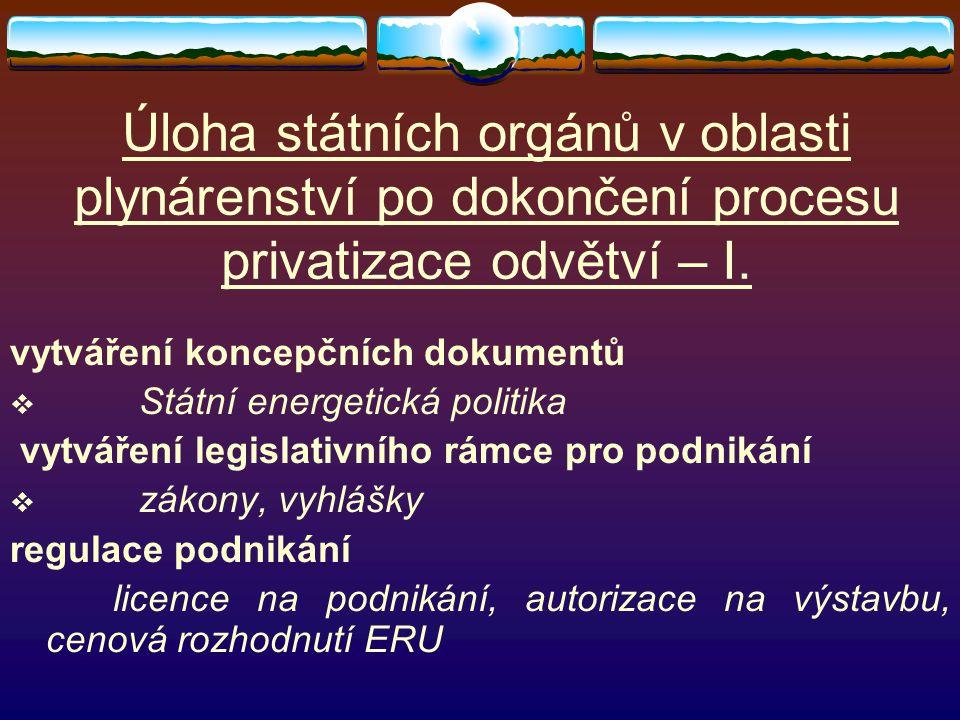 Úloha státních orgánů v oblasti plynárenství po dokončení procesu privatizace odvětví – I. vytváření koncepčních dokumentů  Státní energetická politi