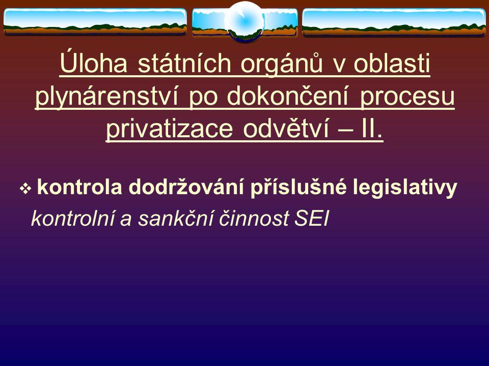 Úloha státních orgánů v oblasti plynárenství po dokončení procesu privatizace odvětví – II.  kontrola dodržování příslušné legislativy kontrolní a sa