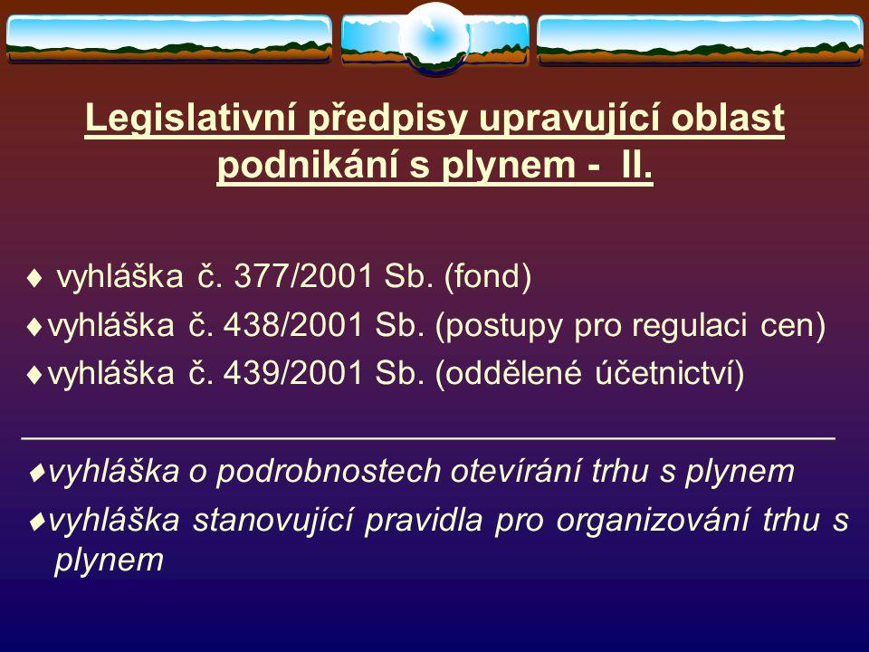 Legislativní předpisy upravující oblast podnikání s plynem - II.  vyhláška č. 377/2001 Sb. (fond)  vyhláška č. 438/2001 Sb. (postupy pro regulaci ce