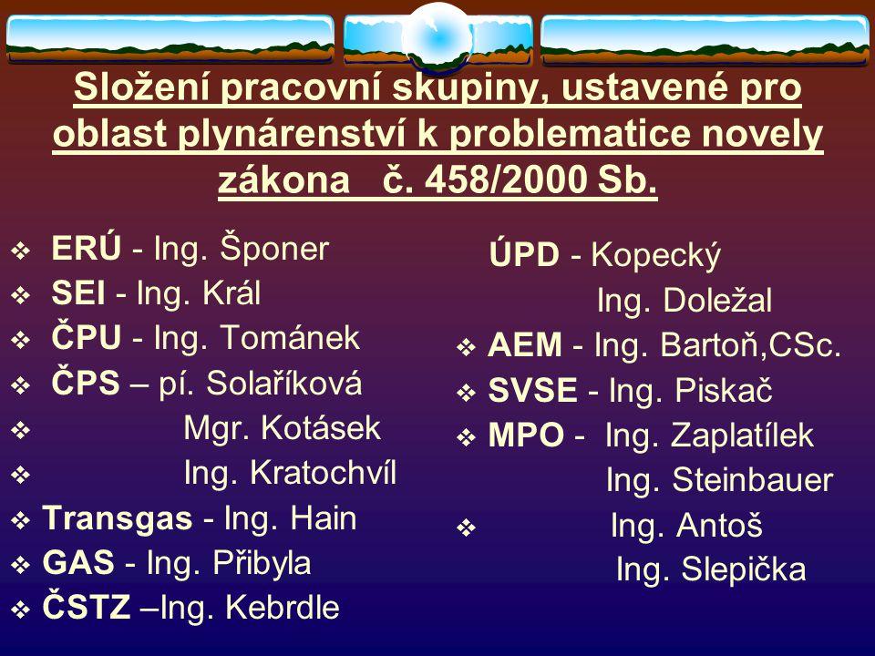Složení pracovní skupiny, ustavené pro oblast plynárenství k problematice novely zákona č. 458/2000 Sb.  ERÚ - Ing. Šponer  SEI - Ing. Král  ČPU -