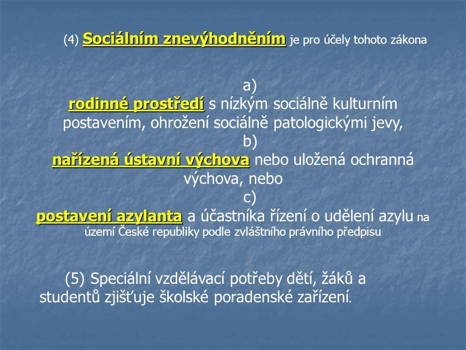 Sociálním znevýhodněním (4) Sociálním znevýhodněním je pro účely tohoto zákona a) rodinné prostředí rodinné prostředí s nízkým sociálně kulturním post