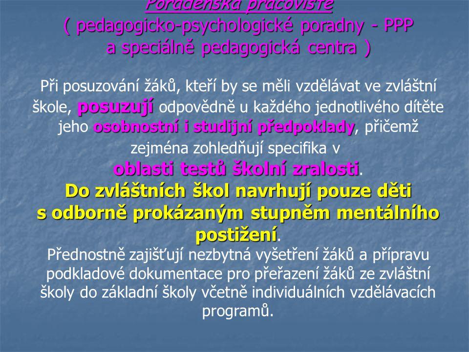Poradenská pracoviště ( pedagogicko-psychologické poradny - PPP a speciálně pedagogická centra ) posuzují osobnostní i studijní předpoklady Při posuzo