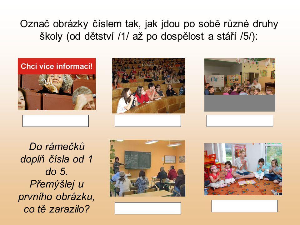 Označ obrázky číslem tak, jak jdou po sobě různé druhy školy (od dětství /1/ až po dospělost a stáří /5/): Do rámečků doplň čísla od 1 do 5.