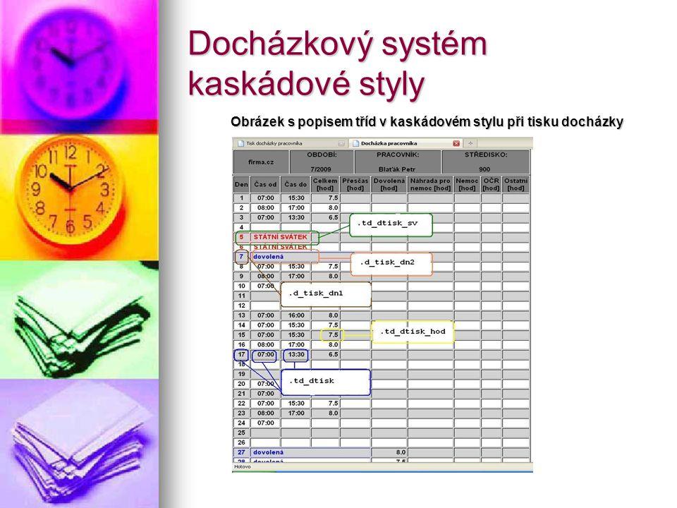Docházkový systém kaskádové styly Obrázek s popisem tříd v kaskádovém stylu při tisku docházky
