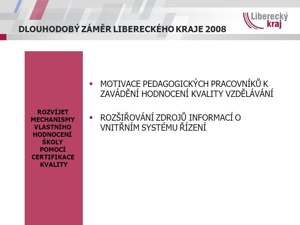 DLOUHODOBÝ ZÁMĚR LIBERECKÉHO KRAJE 2008 ROZVÍJET MECHANISMY VLASTNÍHO HODNOCENÍ ŠKOLY POMOCÍ CERTIFIKACE KVALITY  MOTIVACE PEDAGOGICKÝCH PRACOVNÍKŮ K ZAVÁDĚNÍ HODNOCENÍ KVALITY VZDĚLÁVÁNÍ  ROZŠIŘOVÁNÍ ZDROJŮ INFORMACÍ O VNITŘNÍM SYSTÉMU ŘÍZENÍ