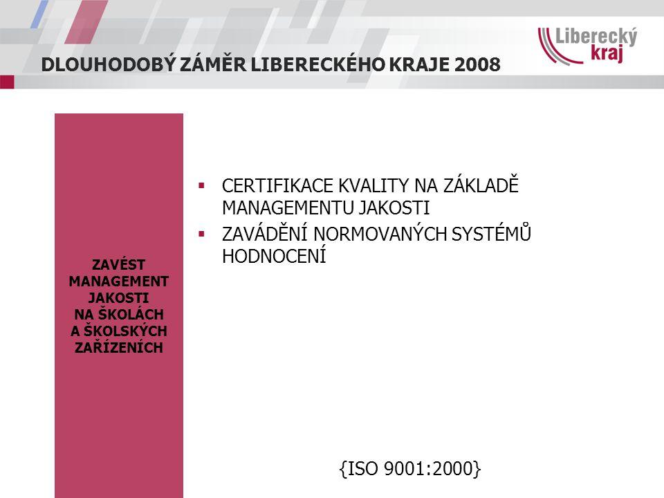 DLOUHODOBÝ ZÁMĚR LIBERECKÉHO KRAJE 2008 ZAVÉST MANAGEMENT JAKOSTI NA ŠKOLÁCH A ŠKOLSKÝCH ZAŘÍZENÍCH  CERTIFIKACE KVALITY NA ZÁKLADĚ MANAGEMENTU JAKOSTI  ZAVÁDĚNÍ NORMOVANÝCH SYSTÉMŮ HODNOCENÍ {ISO 9001:2000}