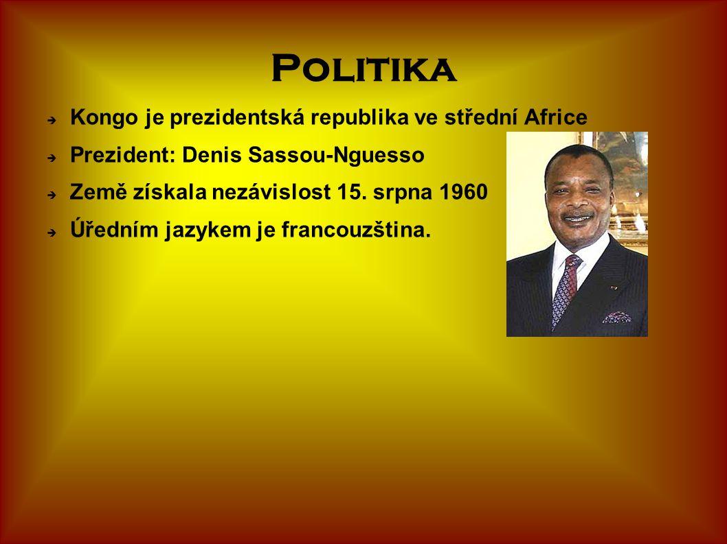 Politika  Kongo je prezidentská republika ve střední Africe  Prezident: Denis Sassou-Nguesso  Země získala nezávislost 15. srpna 1960  Úředním jaz