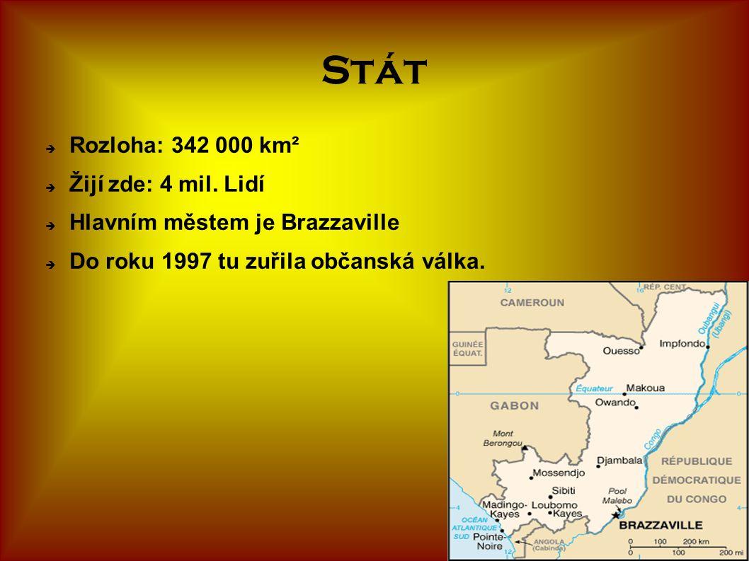 Stát  Rozloha: 342 000 km²  Žijí zde: 4 mil. Lidí  Hlavním městem je Brazzaville  Do roku 1997 tu zuřila občanská válka.