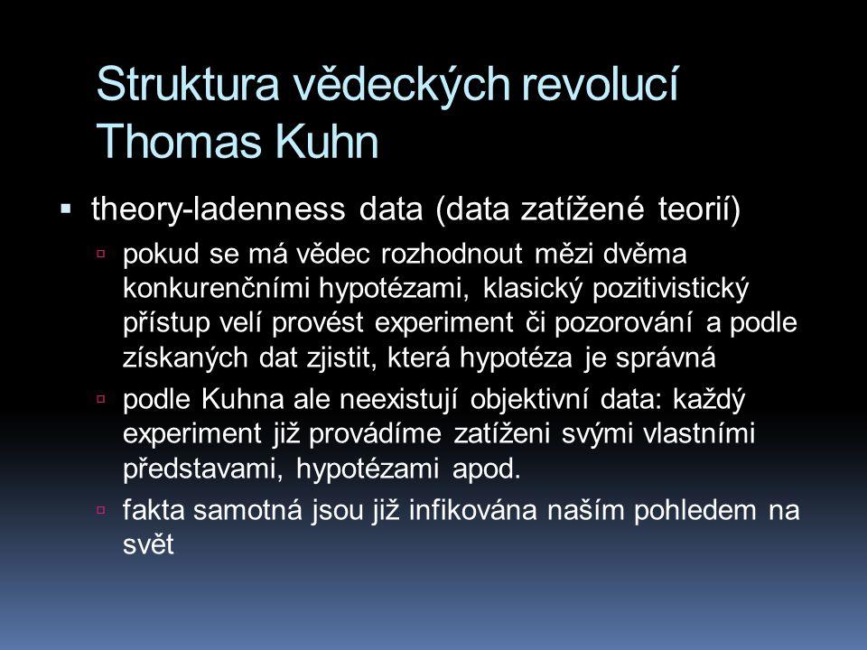 Struktura vědeckých revolucí Thomas Kuhn  theory-ladenness data (data zatížené teorií)  pokud se má vědec rozhodnout mězi dvěma konkurenčními hypoté