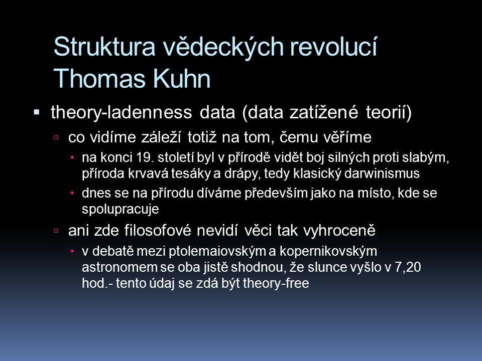 Struktura vědeckých revolucí Thomas Kuhn  theory-ladenness data (data zatížené teorií)  co vidíme záleží totiž na tom, čemu věříme  na konci 19. st