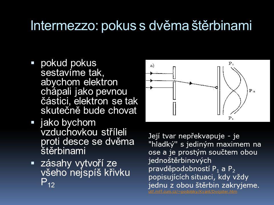 Intermezzo: pokus s dvěma štěrbinami  pokud pokus sestavíme tak, abychom elektron chápali jako pevnou částici, elektron se tak skutečně bude chovat 