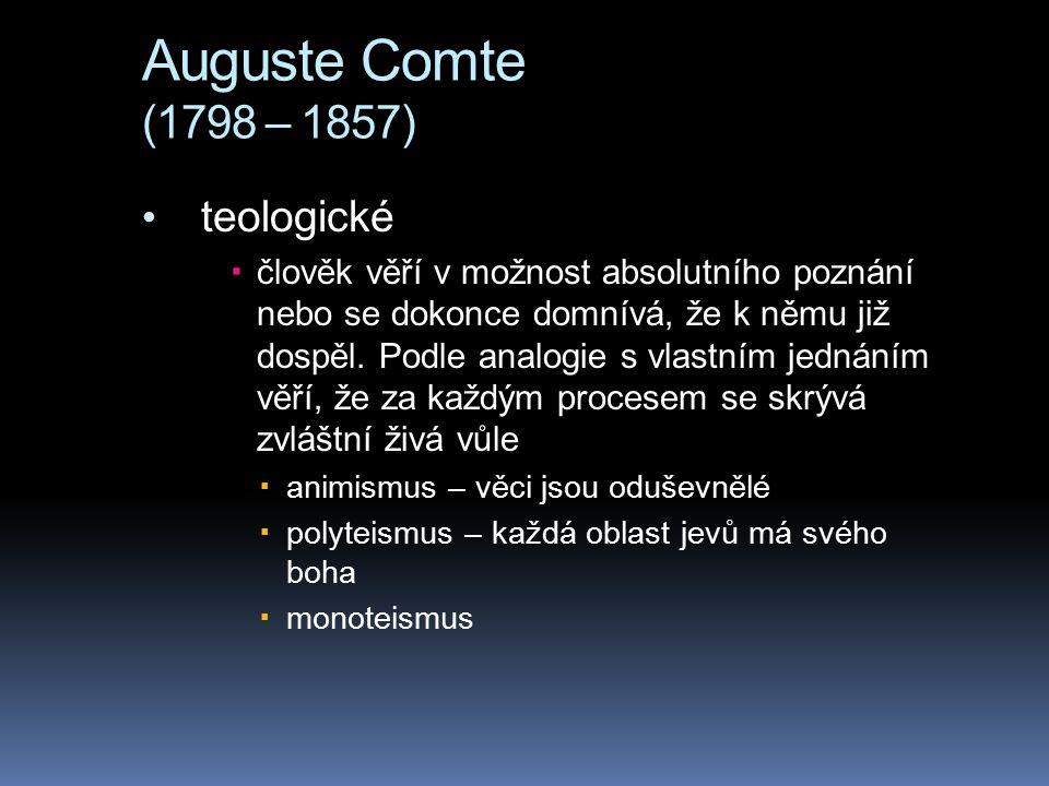 Auguste Comte (1798 – 1857) teologické  člověk věří v možnost absolutního poznání nebo se dokonce domnívá, že k němu již dospěl. Podle analogie s vla
