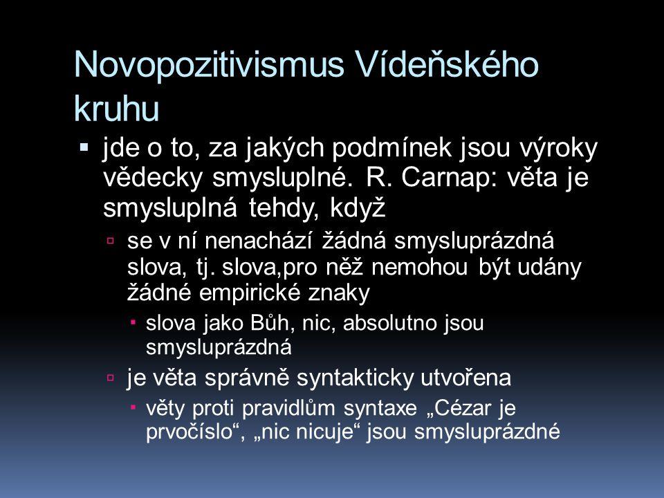 Novopozitivismus Vídeňského kruhu  jde o to, za jakých podmínek jsou výroky vědecky smysluplné. R. Carnap: věta je smysluplná tehdy, když  se v ní n