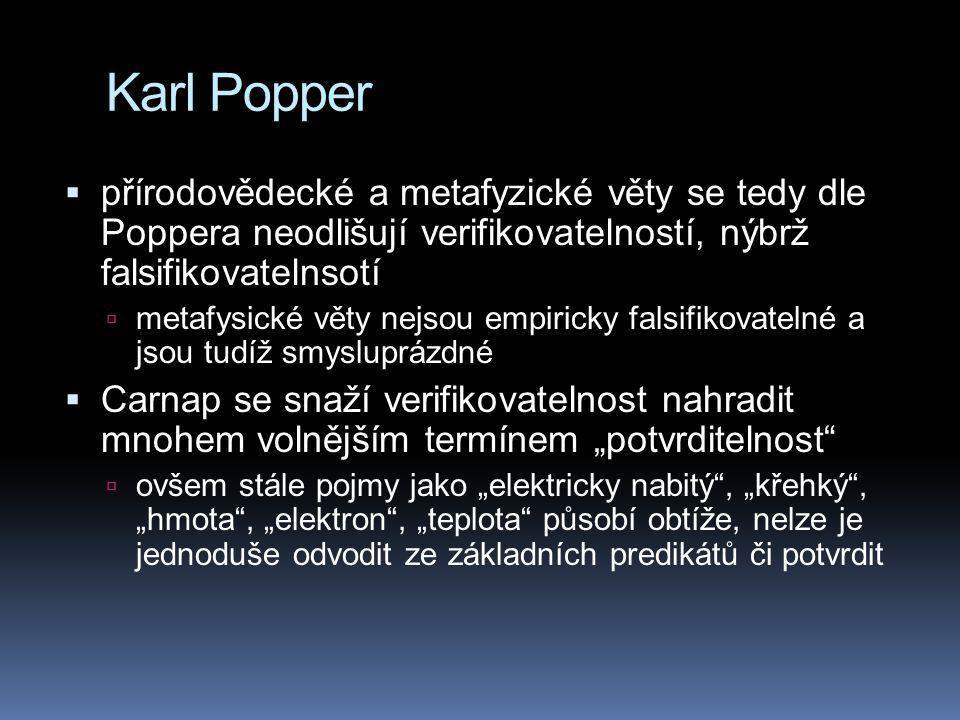 Karl Popper  přírodovědecké a metafyzické věty se tedy dle Poppera neodlišují verifikovatelností, nýbrž falsifikovatelnsotí  metafysické věty nejsou