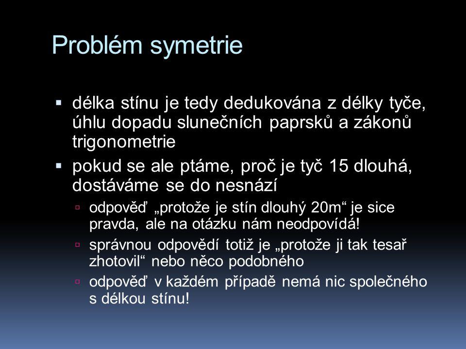Problém symetrie  délka stínu je tedy dedukována z délky tyče, úhlu dopadu slunečních paprsků a zákonů trigonometrie  pokud se ale ptáme, proč je ty