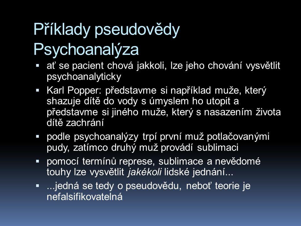 Příklady pseudovědy Psychoanalýza  ať se pacient chová jakkoli, lze jeho chování vysvětlit psychoanalyticky  Karl Popper: představme si například mu
