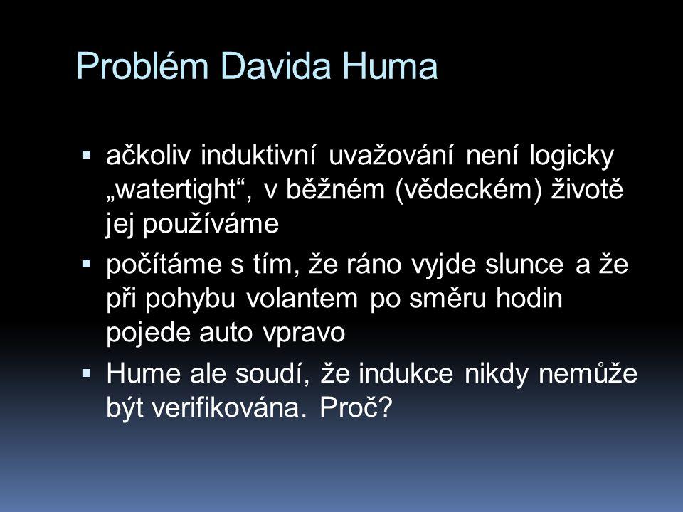 """Problém Davida Huma  ačkoliv induktivní uvažování není logicky """"watertight"""", v běžném (vědeckém) životě jej používáme  počítáme s tím, že ráno vyjde"""