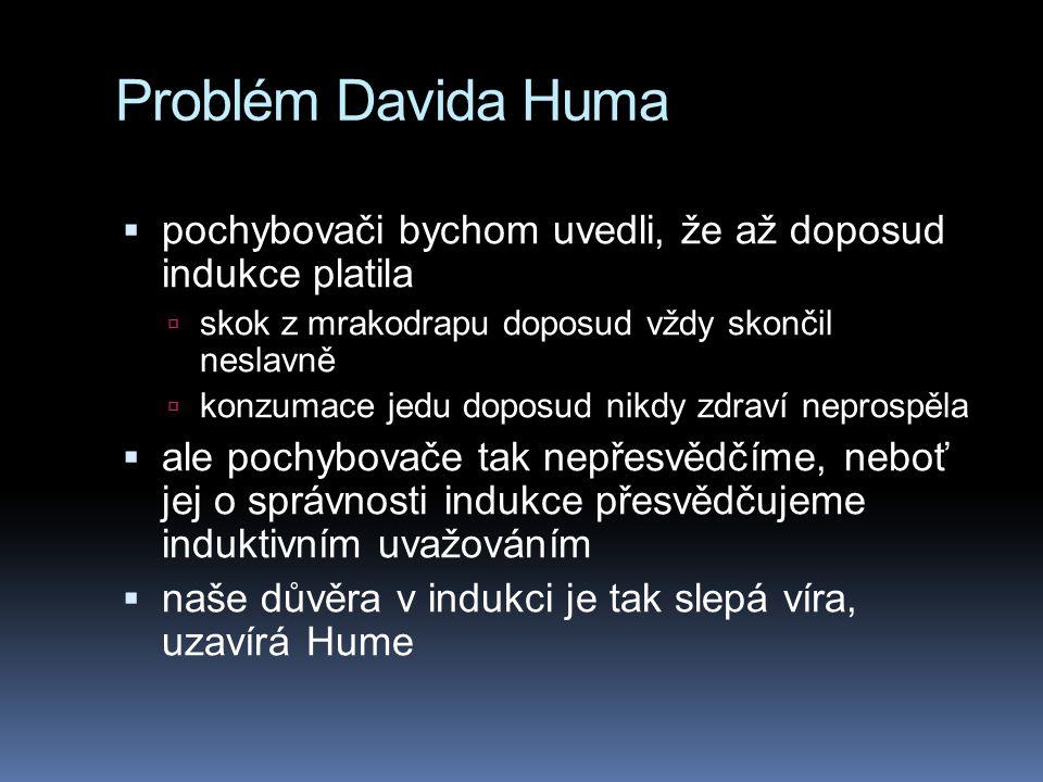 Problém Davida Huma  pochybovači bychom uvedli, že až doposud indukce platila  skok z mrakodrapu doposud vždy skončil neslavně  konzumace jedu dopo