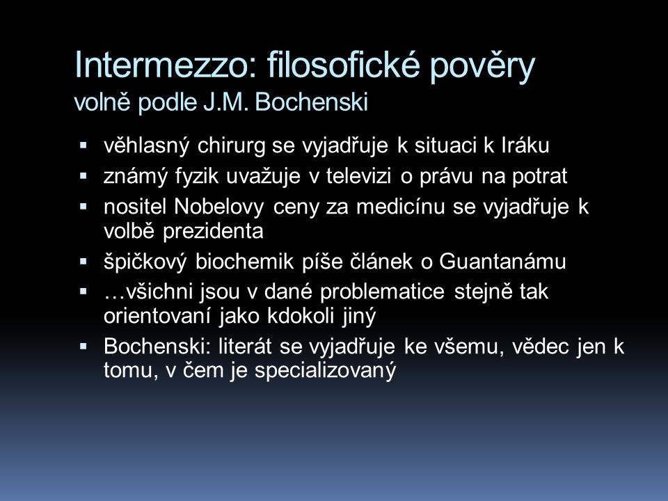 Intermezzo: filosofické pověry volně podle J.M. Bochenski  věhlasný chirurg se vyjadřuje k situaci k Iráku  známý fyzik uvažuje v televizi o právu n