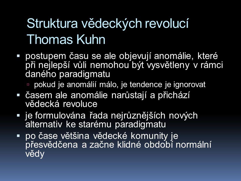 Struktura vědeckých revolucí Thomas Kuhn  postupem času se ale objevují anomálie, které při nejlepší vůli nemohou být vysvětleny v rámci daného parad