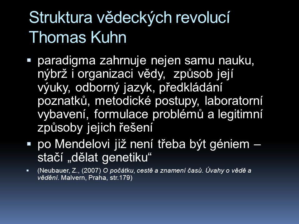 Struktura vědeckých revolucí Thomas Kuhn  paradigma zahrnuje nejen samu nauku, nýbrž i organizaci vědy, způsob její výuky, odborný jazyk, předkládání