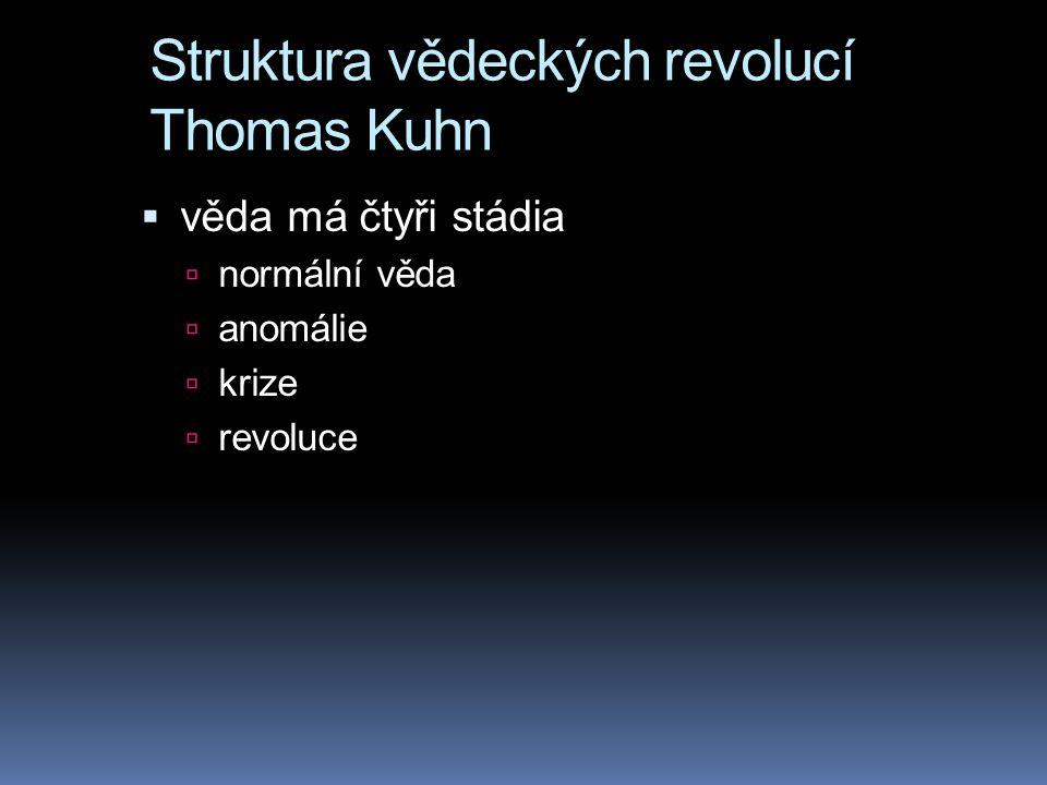 Struktura vědeckých revolucí Thomas Kuhn  věda má čtyři stádia  normální věda  anomálie  krize  revoluce