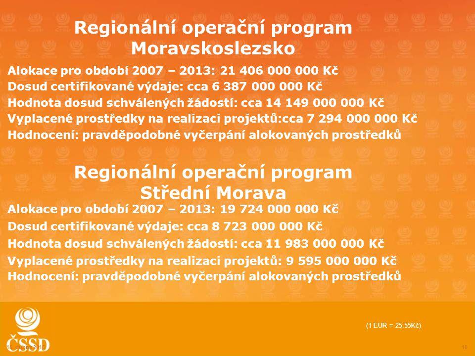 Regionální operační program Moravskoslezsko Alokace pro období 2007 – 2013: 21 406 000 000 Kč Dosud certifikované výdaje: cca 6 387 000 000 Kč Hodnota dosud schválených žádostí: cca 14 149 000 000 Kč Vyplacené prostředky na realizaci projektů:cca 7 294 000 000 Kč Hodnocení: pravděpodobné vyčerpání alokovaných prostředků 15.