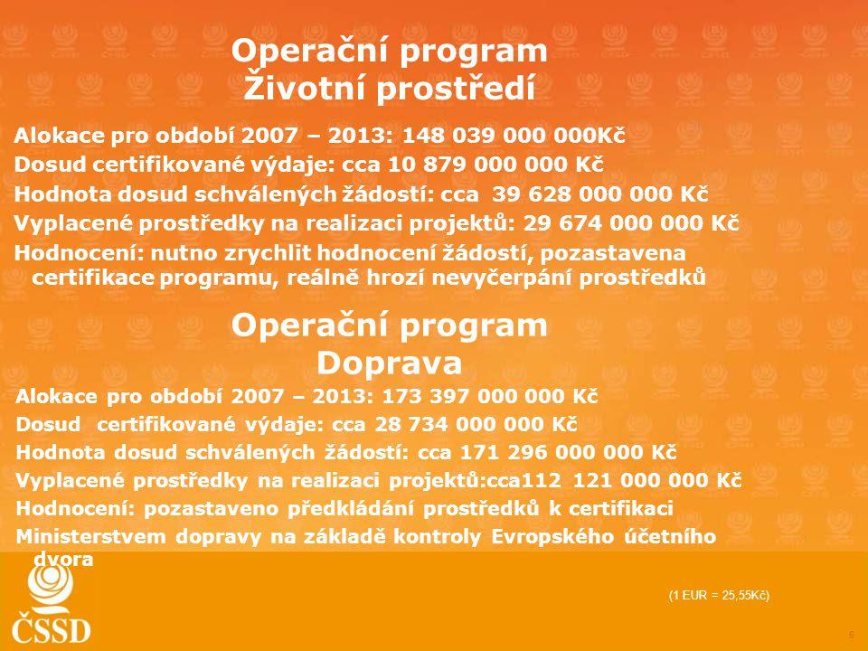 Operační program Životní prostředí Alokace pro období 2007 – 2013: 148 039 000 000Kč Dosud certifikované výdaje: cca 10 879 000 000 Kč Hodnota dosud schválených žádostí: cca 39 628 000 000 Kč Vyplacené prostředky na realizaci projektů: 29 674 000 000 Kč Hodnocení: nutno zrychlit hodnocení žádostí, pozastavena certifikace programu, reálně hrozí nevyčerpání prostředků 6 Operační program Doprava Alokace pro období 2007 – 2013: 173 397 000 000 Kč Dosud certifikované výdaje: cca 28 734 000 000 Kč Hodnota dosud schválených žádostí: cca 171 296 000 000 Kč Vyplacené prostředky na realizaci projektů:cca112 121 000 000 Kč Hodnocení: pozastaveno předkládání prostředků k certifikaci Ministerstvem dopravy na základě kontroly Evropského účetního dvora (1 EUR = 25,55Kč)