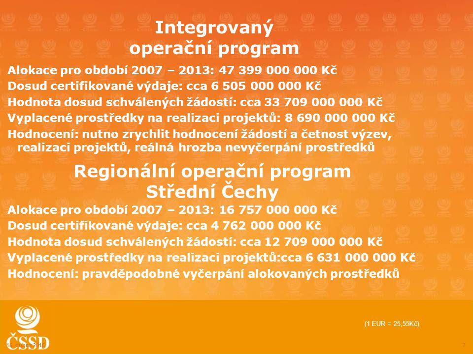 Integrovaný operační program Alokace pro období 2007 – 2013: 47 399 000 000 Kč Dosud certifikované výdaje: cca 6 505 000 000 Kč Hodnota dosud schválených žádostí: cca 33 709 000 000 Kč Vyplacené prostředky na realizaci projektů: 8 690 000 000 Kč Hodnocení: nutno zrychlit hodnocení žádostí a četnost výzev, realizaci projektů, reálná hrozba nevyčerpání prostředků 15.