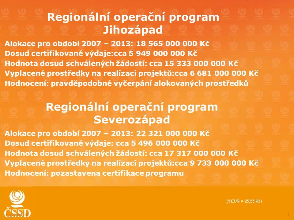 Regionální operační program Jihozápad Alokace pro období 2007 – 2013: 18 565 000 000 Kč Dosud certifikované výdaje:cca 5 949 000 000 Kč Hodnota dosud schválených žádostí: cca 15 333 000 000 Kč Vyplacené prostředky na realizaci projektů:cca 6 681 000 000 Kč Hodnocení: pravděpodobné vyčerpání alokovaných prostředků 15.