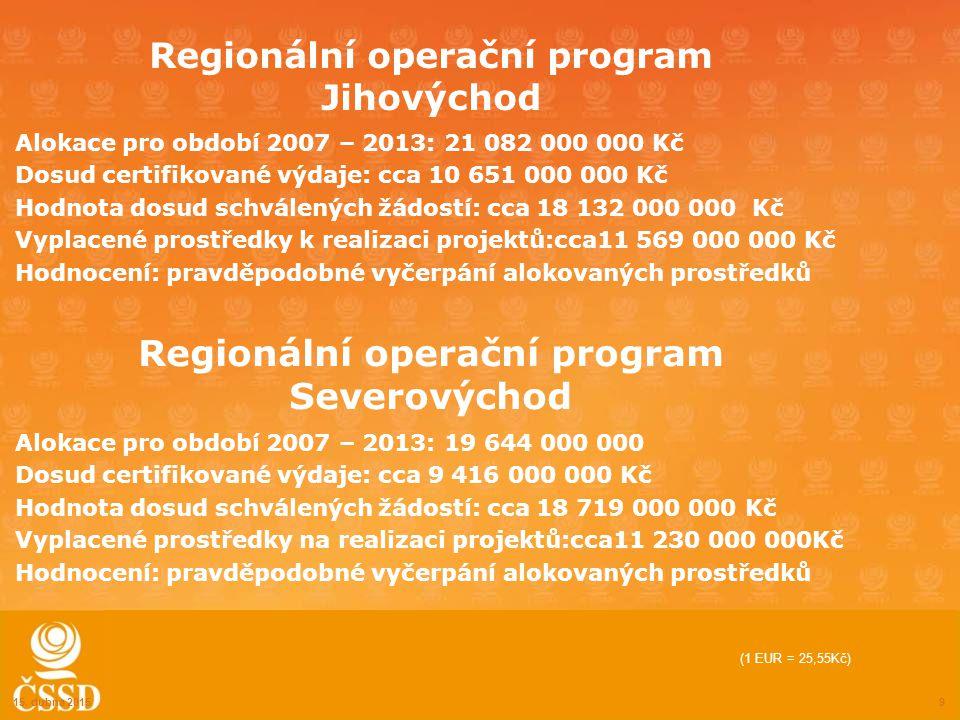 Regionální operační program Jihovýchod Alokace pro období 2007 – 2013: 21 082 000 000 Kč Dosud certifikované výdaje: cca 10 651 000 000 Kč Hodnota dosud schválených žádostí: cca 18 132 000 000 Kč Vyplacené prostředky k realizaci projektů:cca11 569 000 000 Kč Hodnocení: pravděpodobné vyčerpání alokovaných prostředků 15.