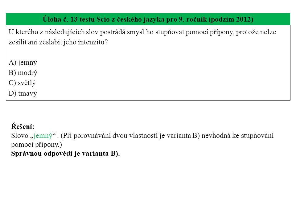 Úloha č. 13 testu Scio z českého jazyka pro 9.