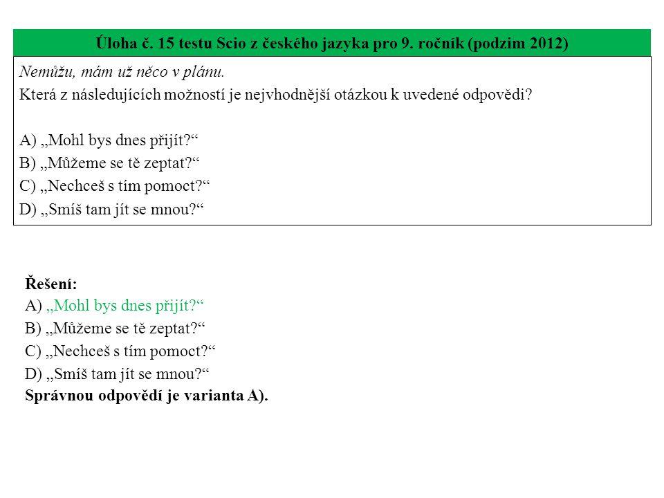 Úloha č. 15 testu Scio z českého jazyka pro 9. ročník (podzim 2012) Nemůžu, mám už něco v plánu.