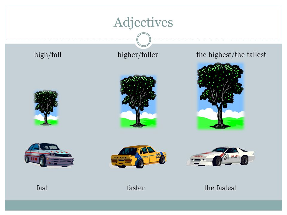 Adjectives high/tall higher/taller the highest/the tallest fastfasterthe fastest